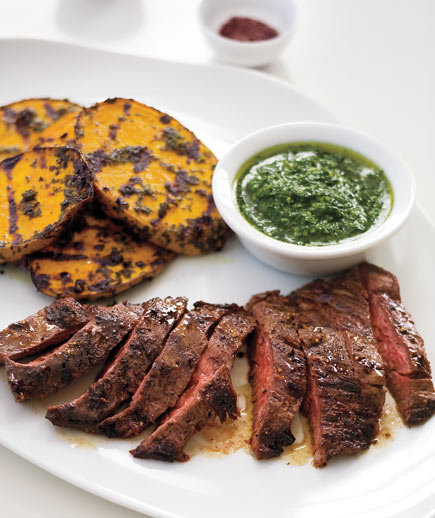 Grilled Skirt Steak and Potatoes With Herb Sauce | Easy Steak Dinner ...