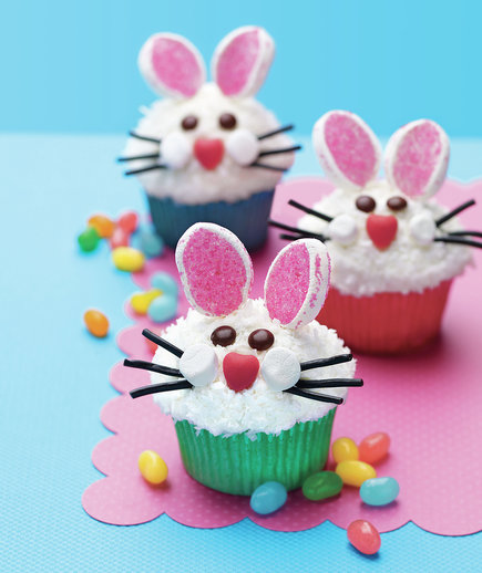 Easter bunny face cupcakes from all you 7 easy ideas for for Cute cupcake decorating ideas for easter