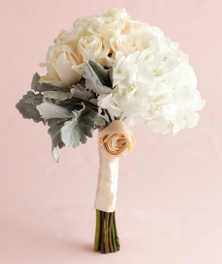 White Hydrangea Rose And Dusty Miller Trio
