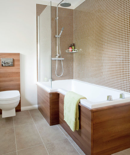 Fantastic Modern White Bathroom With Neutral Tiles  Bathroom Decorating  Style