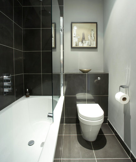 Shady days of gray 15 great bathroom design ideas real for Small dark bathroom ideas