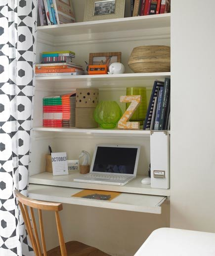 Secret project 17 surprising home office ideas real simple for Small pull out desk