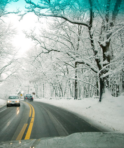 car-snowy-forest-road