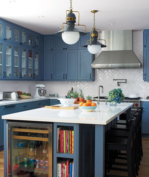 white-kitchen-with-blue-cabinets-and-white-counters