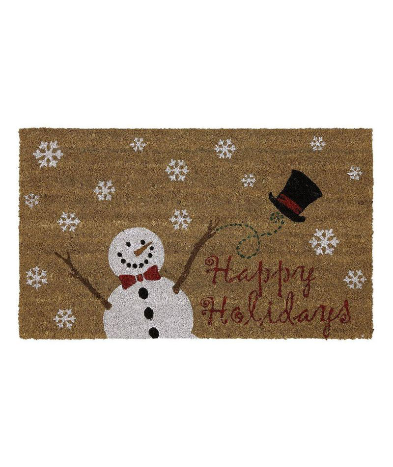 Merry snow hat mat 6 exterior holiday decorations real for Best doormat for snow