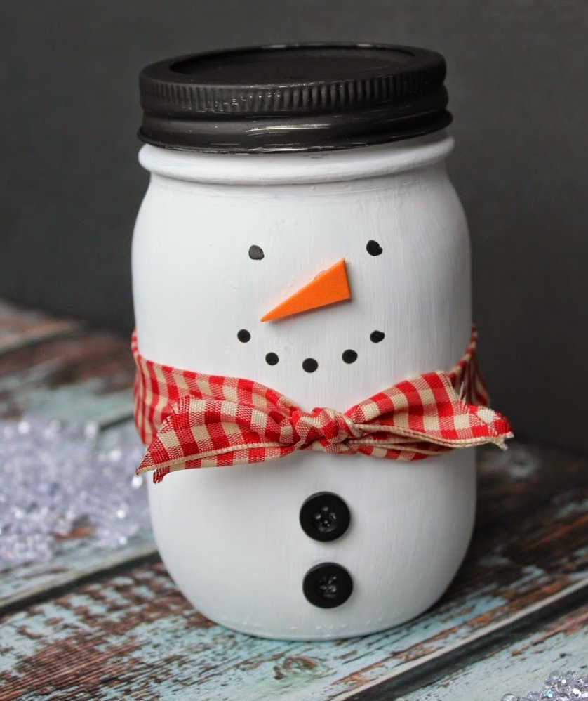 Painted Mason Jar Snowman Christmas Mason Jar Crafts