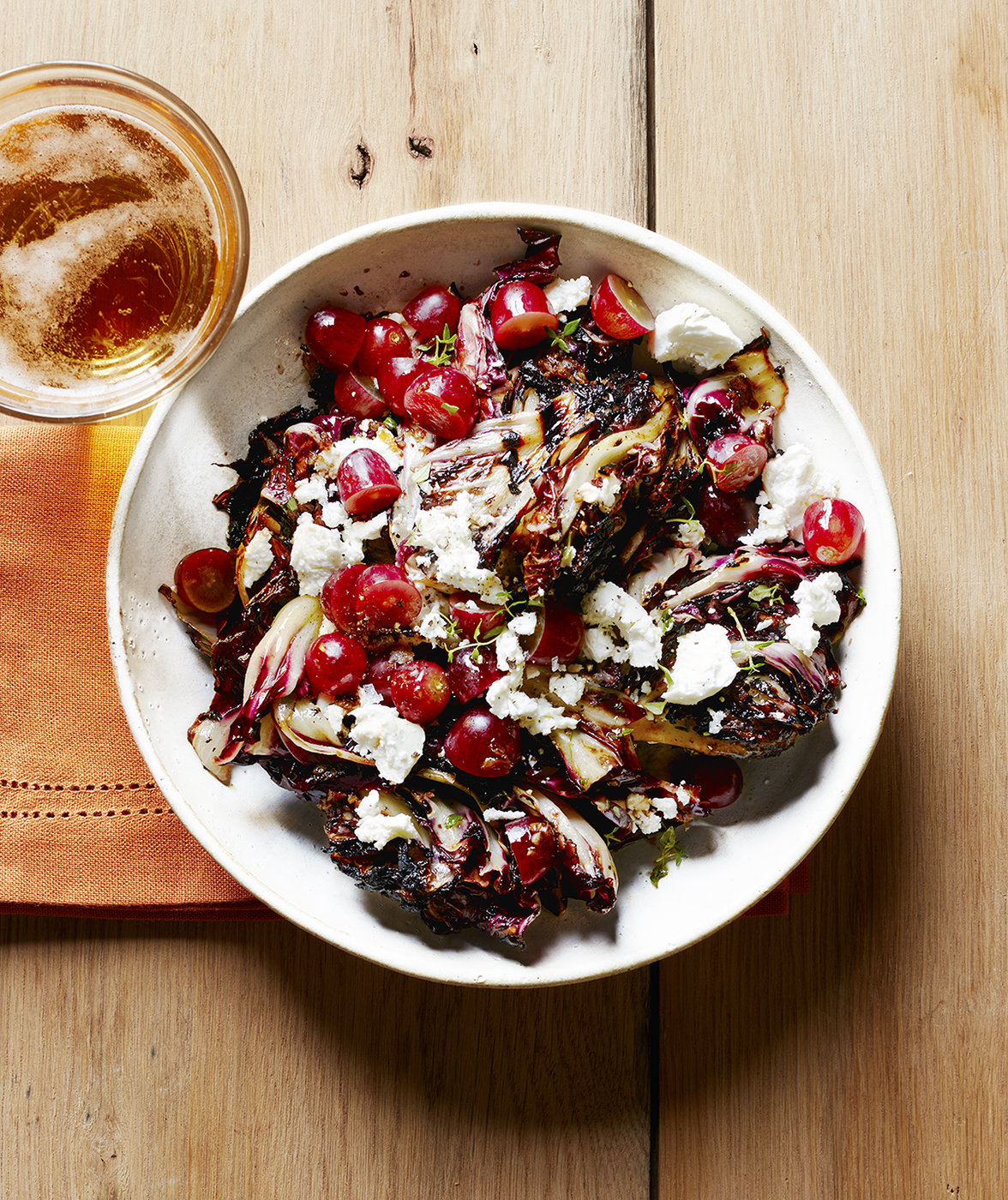 Grilled Radicchio Salad with Goat Cheese, Thyme, and Grapes | Real ...