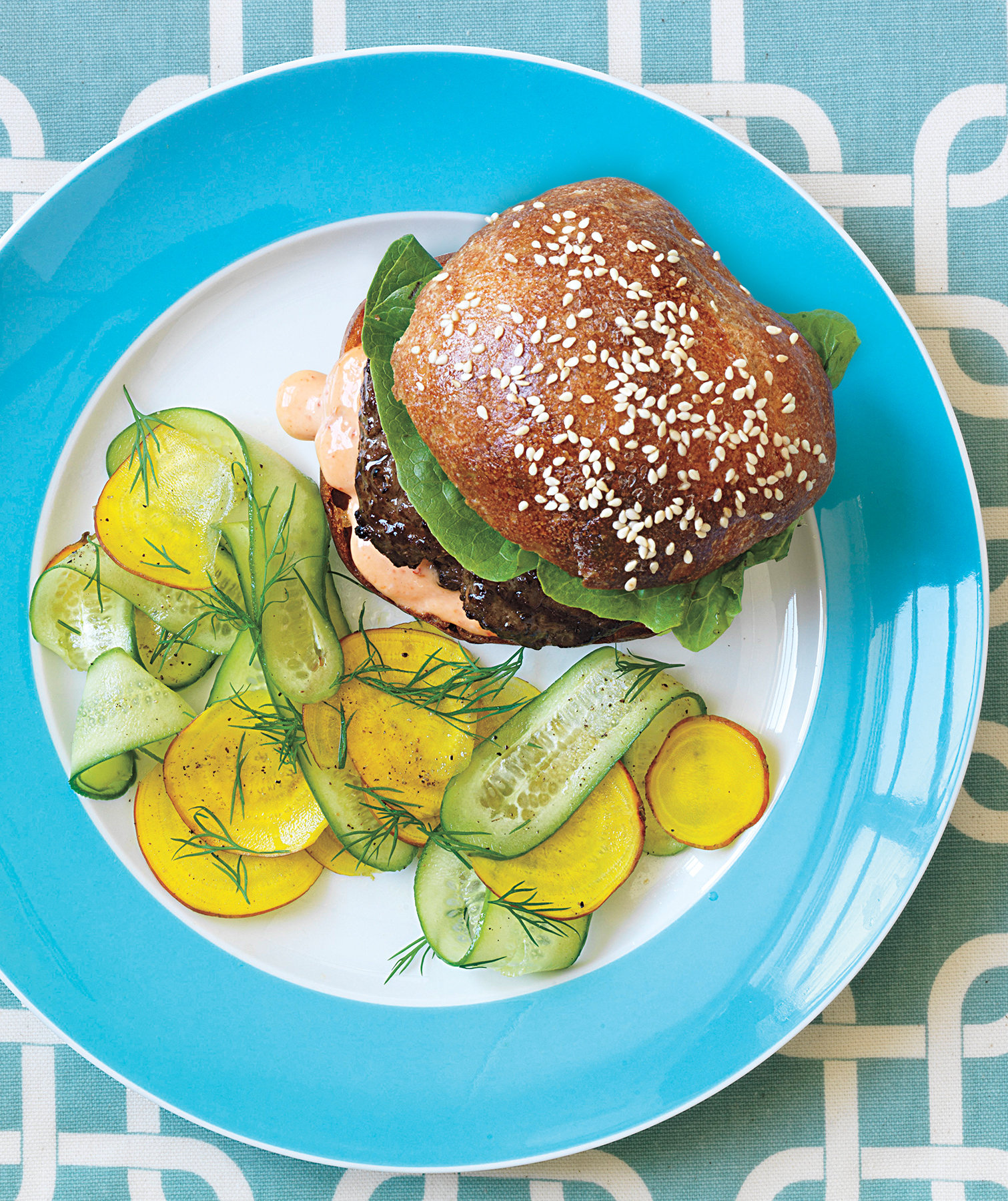 burger-cucumber-beet-salad