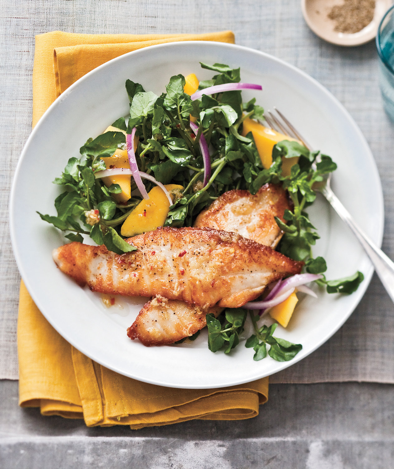 seared tilapia with watercress mango salad recipe real simple