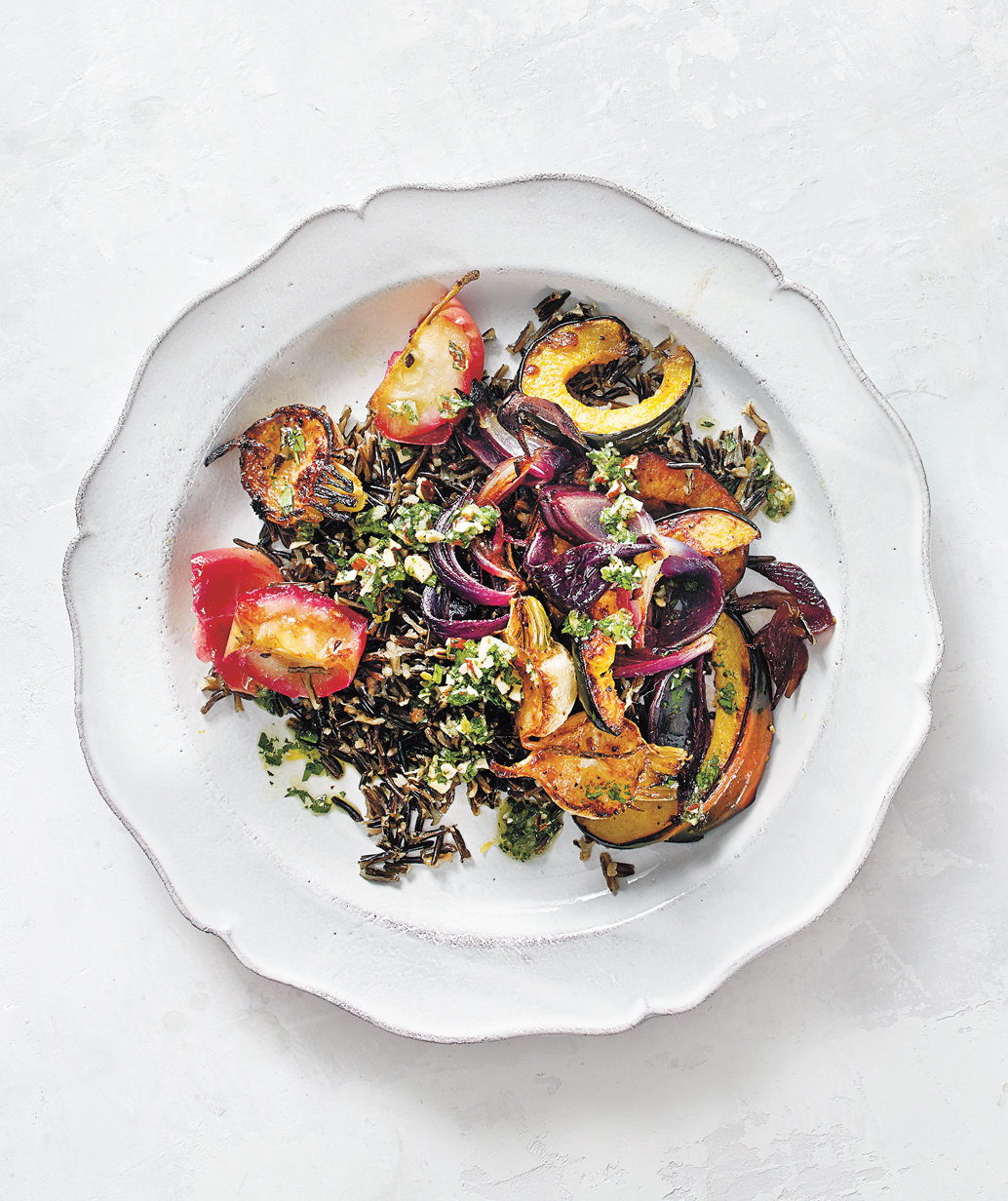 roasted-vegetable-wild-rice-salad-almond-parsley