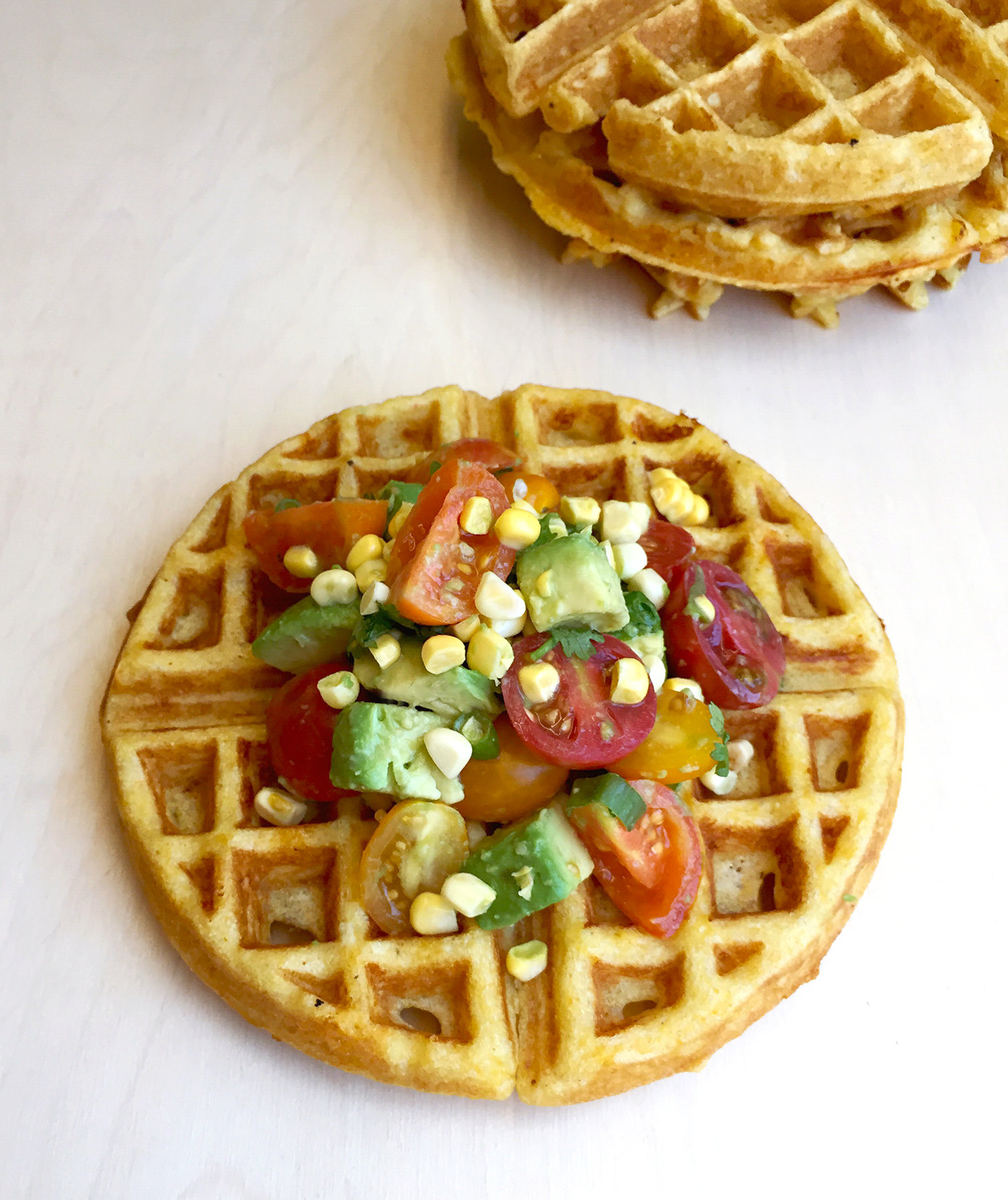 Savory Cornmeal Waffles With Tomato-Avocado Salsa | Real Simple