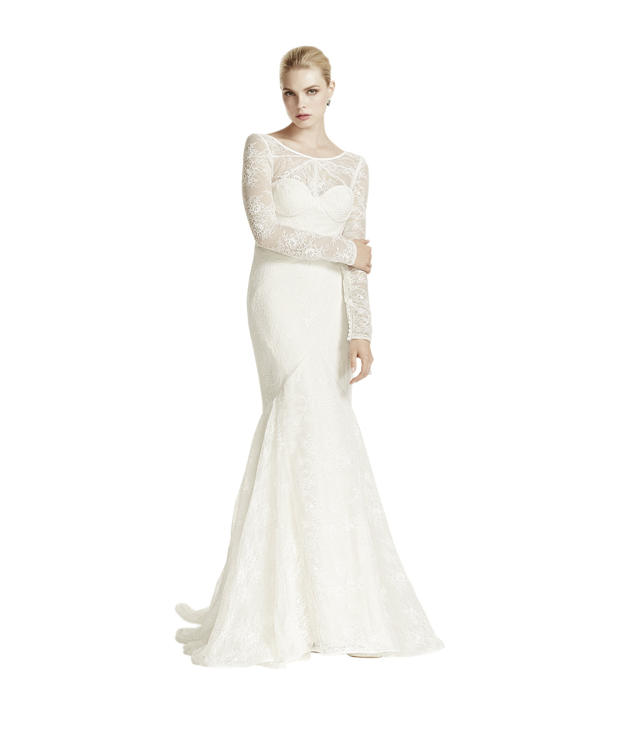 Truly zac posen lace trumpet long sleeve illusion neck for Truly zac posen wedding dress with sequin detail