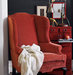 red-velvet-armchair-wood-dresser