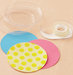 plastic-cup-lids-tape-sticky-dots-colored-paper