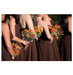 bridesmaids-brown-bouquets-wildflowers