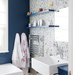 bathroom-navy-blue-white-mosaic-tile-wall