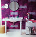 bathroom-magenta-patterned-wallpaper