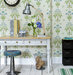 desk-stool-hallway-floral-patterned-wallpaper