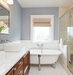 white-gray-bathroom-shower-hydrangeas
