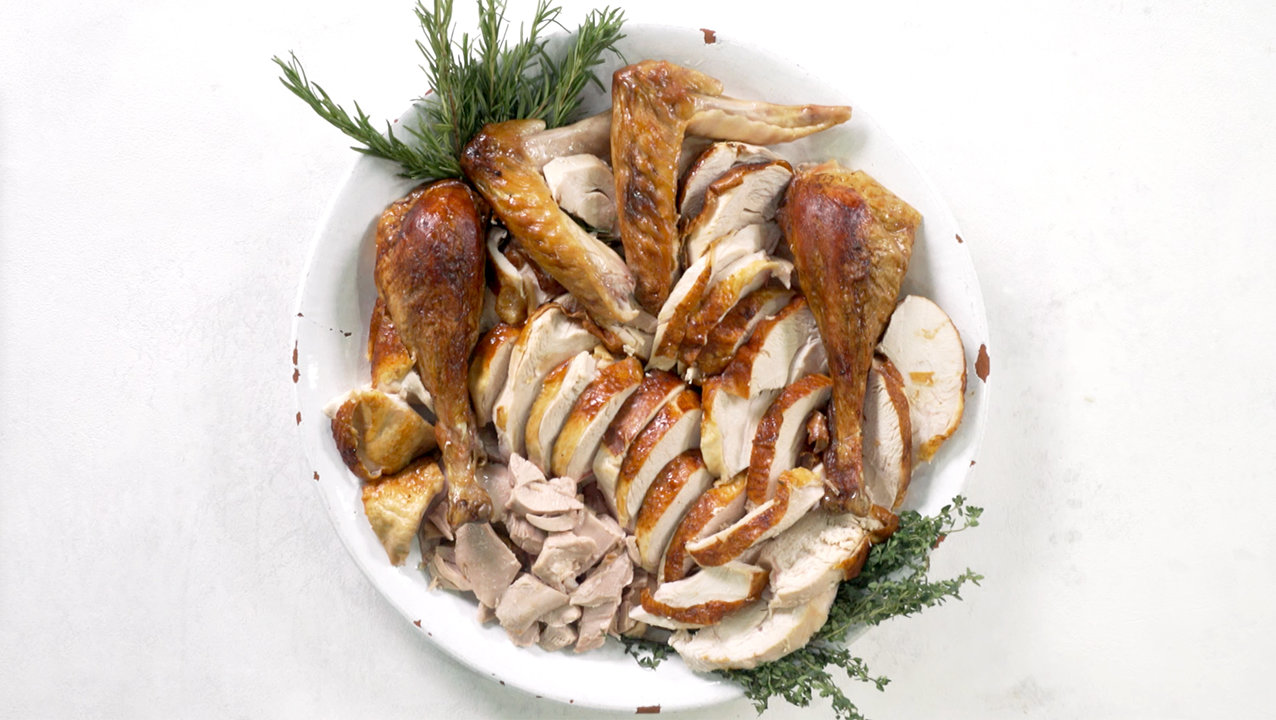 Plate of carved turkey